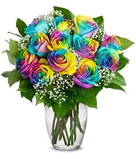 Amazon Com Fresh Rainbow Roses Bouquet By Flower Explosion