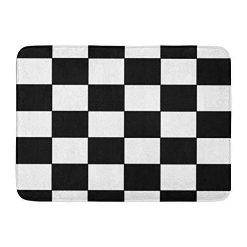 Emvency Doormats Bath Rugs Outdoor/Indoor Door Mat Checker Black and White Racing Checkered Pattern Flag Check Board Bathroom Decor Rug 16