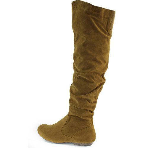 Womens DailyShoes Over the Knee Thigh High Flats Slouch Side Zipper Round Toe Stylish Fashion Boots Cognac (Thigh High With Zipper) RORF6BsB