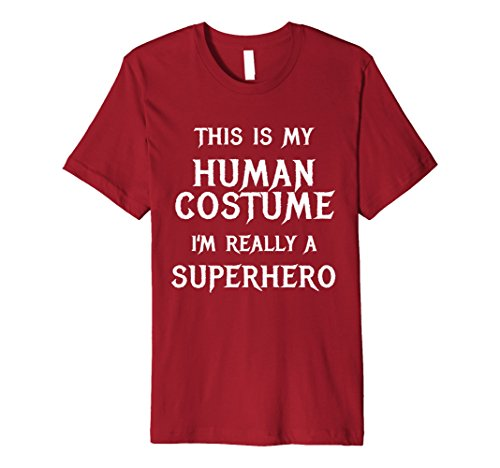 Super Funny Halloween Costume Ideas - Mens I'm Really a Superhero Halloween Costume Shirt Funny Easy Medium Cranberry