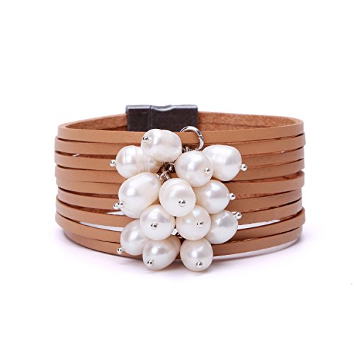 (PearlyPearl Freshwater Cultured Pearl Leather Cuff Bracelet Magnetic Wristband Bohemian Handmade Jewelry for Women 7.8'')