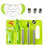 Fruit Carving Garnishing Tools DIY Fruit Salad Tool Set Deluxe Fruit Slicer Kit for Kitchen and Outdoors,With Apple Cutter Corer,Citrus Peeler,Chopping Board and More