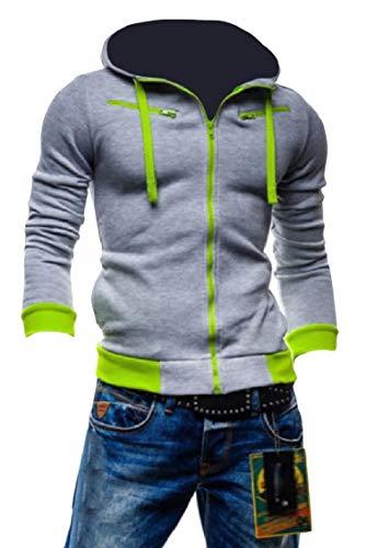(Fieer Mens Oversized Zip Hoodie Fleece Hit Color Big Pockets Stitch Sweatshirts Light Grey M)