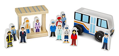 Town Bus - Melissa & Doug Wooden Off To Work Bus Play Set (14 pcs)