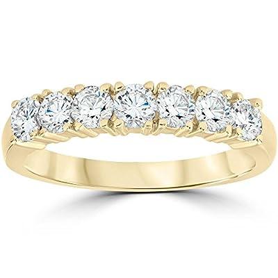 1ct Diamond Wedding Ring Anniversary 14k Yellow Gold 7-Stone Womens Band