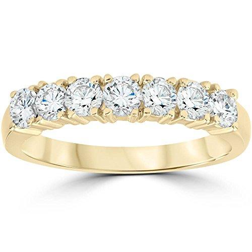 - 1ct Diamond Wedding Ring Anniversary 14k Yellow Gold 7-Stone Womens Band - Size 5.5