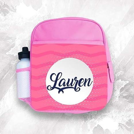 Mochila personalizada para niños con cualquier nombre, color rosa, para niñas y niños: Amazon.es: Hogar