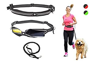 Premium Hands-free Running Dog Leash with Ergonomic Waist Belt, Dual Handle Bungee Leash by Paw Elite
