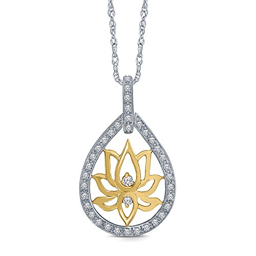 Diamond Peace Pendant - 1/5 ct Round White Diamond with 14K Yellow Gold Platting Lotus 925 Sterling Silver Peace Lotus Yoga Diamond Pendant Necklace for Womens