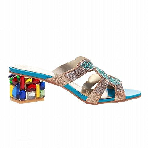Carolbar Women's New Style Mid Heel Rhinestones Peep Toe Sandals Blue ONeXKQDt0