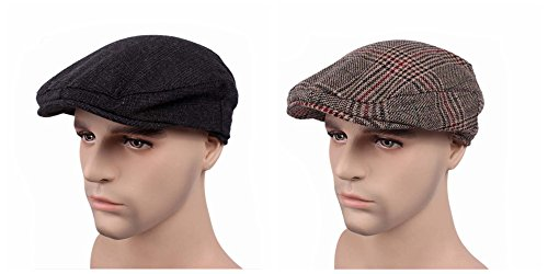 ZHW 2-Pack Men's And Women In The Duck Tongue Beret Leisure Golf Cap, Ivy Newsboy Cap (RM03)