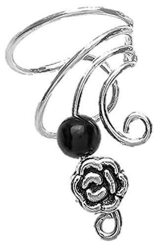 Black Onyx & Pewter Rose Short Sterling Silver Ear Cuffs Earrings (Black Onyx Sterling Silver Slide)