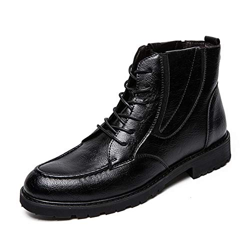 Hilotu Men's Lace Up Work Ankle Boots Casual British Style Stitching High Top Chukka Boot (Color : Black, Size : 9.5 D(M) US) ()