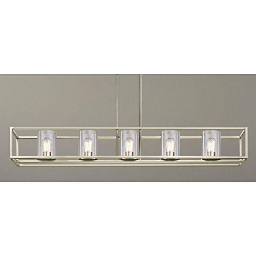 Nickel Chandelier Rectangular (Hanging 5-Light Linear Chandelier with Clear Glass in Satin Nickel Finish)