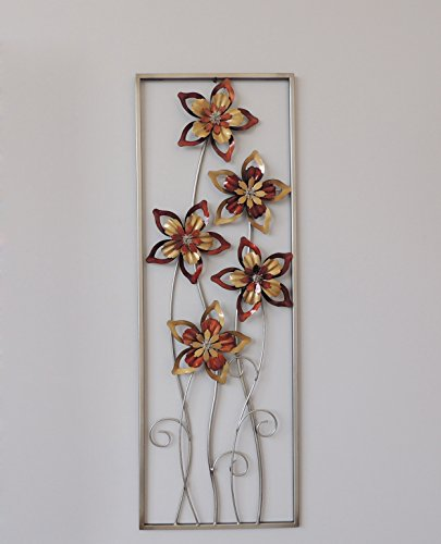 Burgundy Wall Decor - New All American Collection Aluminum/ Metal Wall Decor with Frame (Burgundy/ Brown Flower)