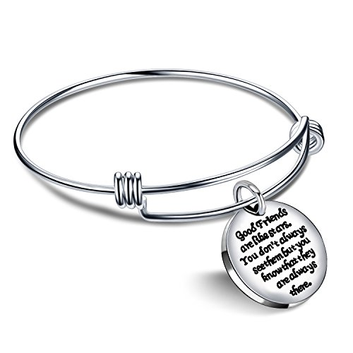 lauhonmin Expandable Bangle Bracelet  Good Friends are Like Stars Don#039t Always See Them but They are Always There Base
