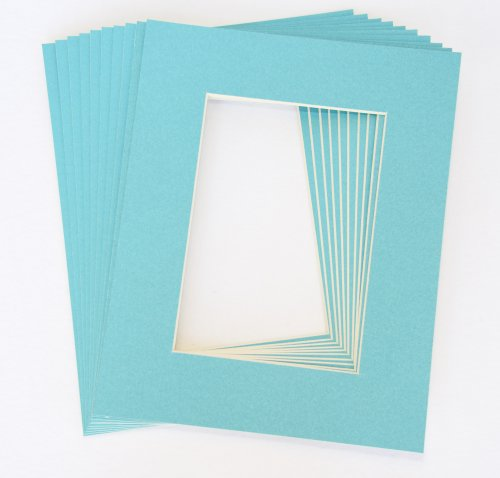 Pack of 10 LIGHT BLUE 11x14 Picture Mats Matting with White Core Bevel Cut for 8x10 ()