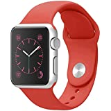 Compatible with Apple Watch Band 38mm 40mm, Jxh-Life Soft Silicone Sport Strap Replacement Bands Compatible with iWatch Series 4/3/2/1 - Red