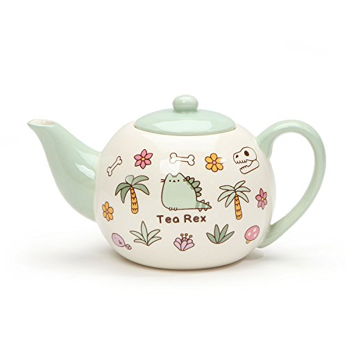 "Pusheen by Our Name is Mud ""Pusheen Tea Rex"" Stoneware Teapot, 4.25 (Mud Pot)"