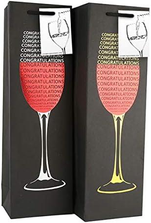 occasions sp/éciales Porte-bouteille de vin pour mariage 6 sacs-cadeaux de vin noir avec /étiquette-cadeau et poign/ées H: 39 cm x L: 12 cm x P: 9 cm Conception de f/élicitations