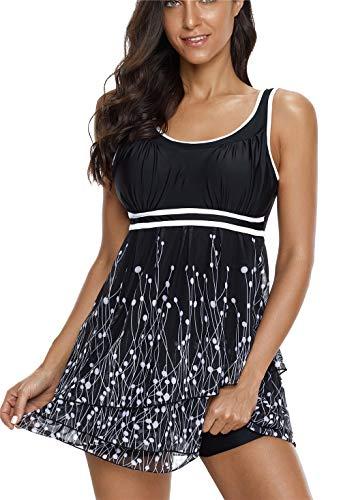 - Urban Virgin Women's Plus Size Swimwear Two Piece Tankini Bathing Suits Swimsuits for Women Black White
