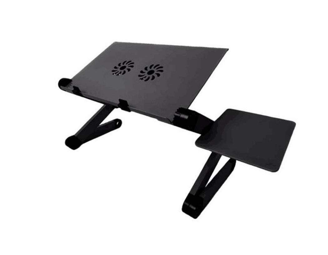 Hhdd Foldable Laptop Desk Portable Laptop Desk Desk Tray Rack with Mouse Board and Cooling Pad Adjustable Height (Dual Fan) (Color : Black)