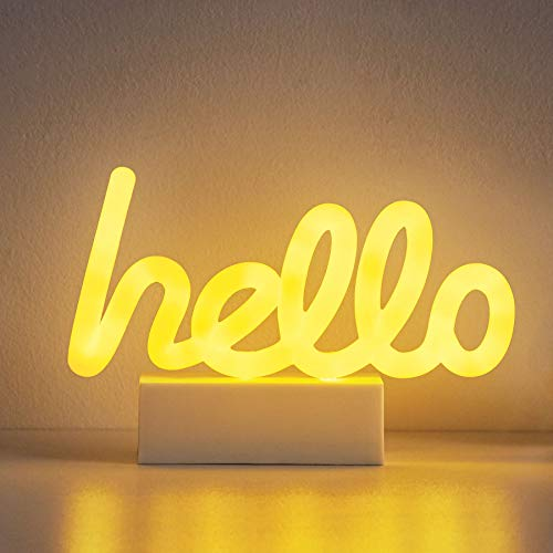 "Merkury Innovations 8"" inch LED Neon Yellow""Hello"" Sign, Night Light, Mood Light with Pedestal,Battery Operated Wall Art,Bedroom Decorations,Lamp,Home Accessories,Party and Holiday Decor:Neon Yellow"