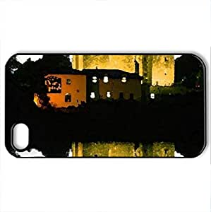Castle - Case Cover for iPhone 4 and 4s (Watercolor style, Black)