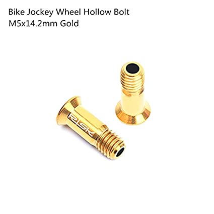 2PCS M5x14.2mm Titanium Hollow Bolt Bicycle Rear Derailleur Pulley Hollow Screw