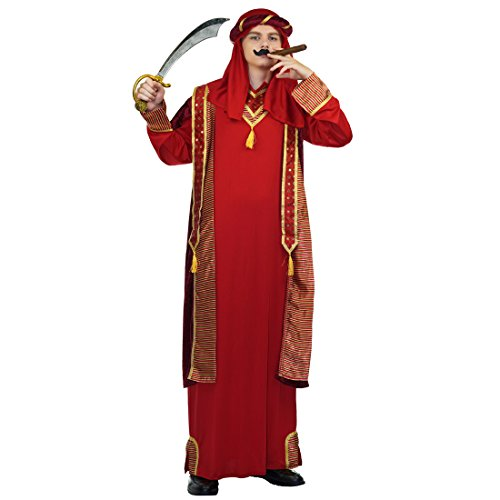 flatwhite Adult Arab Prince Dubai Gangster Costumes,Red,golden,wine,One -
