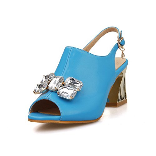 AgooLar Women's Soft Material Open Toe High Heels Buckle Solid Sandals Blue yp1DPT5fby