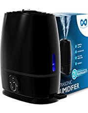 Everlasting Comfort Cool Mist Humidifier for Bedroom (6L) - Filterless - Whisper Quiet - Includes Essential Oil Tray (Black)