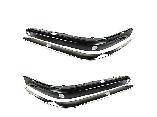 Unpainted Front Bumper Molding Stripe+Chrome Trim For BMW E38 1994-2001
