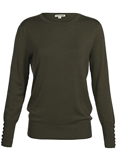 Classic Basic Solid Round Scoop Neck Knit Long Sleeve Ribbed Button Details Tops Pullovers Sweaters