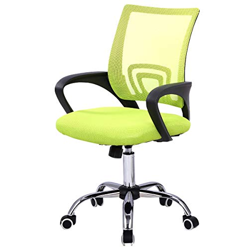 Giantex Mesh Office Chair, Mid-Back Ergonomic Chair with Lumbar Support and Breathable Cushioned Seat for Home Office Use, Adjustable Computer Desk Task Chair (Green)