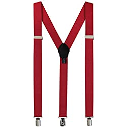 Fashion Accessories Suspenders for Men: Button Pant Braces Clothes Accessory with Elastic, Y Back Design - Regular and Tall Sizes, Burgundy