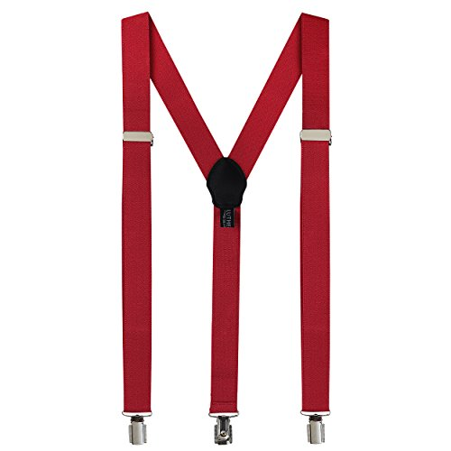 Fashion Accessories Suspenders for Men: Button Pant Braces Clothes Accessory with Elastic, Y Back Design - Regular and Tall Sizes, Burgundy]()