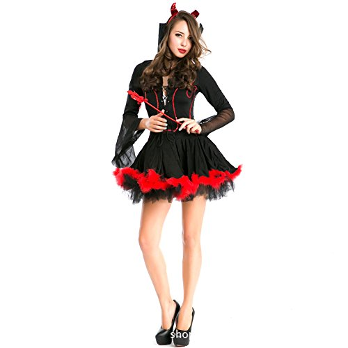 [Women's Hot Little Devil Cosplay Costume for Halloween Party Role Play Red S] (Hot Halloween Costumes Devil)