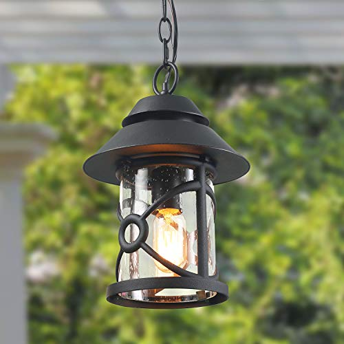 Medium Lighting Pendant Outdoor (LOG BARN Exterior Pendant Lighting, 1-Light Outdoor Light Fixture Porch Light Hanging Lantern with Clear Glass)
