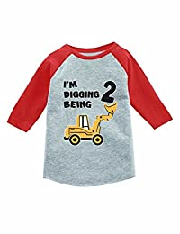 2nd Birthday Gift Construction Party 3/4 Sleeve Baseball Jersey Toddler Shirt