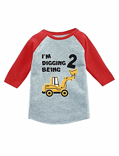 Tstars 2nd Birthday Gift Construction Party 3/4 Sleeve Baseball Jersey Toddler Shirt 2T Red -