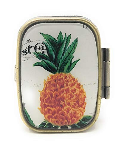 Holiday Williamsburg Fruit - Value Arts Metal Pill Box - Pineapple - 2 Compartment - 2.25