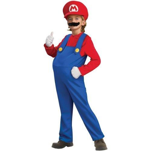 Mario Brothers Halloween Costume (Super Mario Brothers, Deluxe Mario Costume, Large)