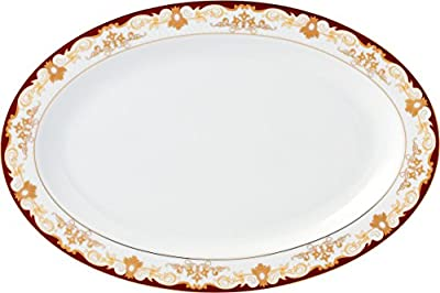 Lorren Home Trends 57 Piece 'Mabel' Bone China Dinnerware Set (Service for 8 People), Burgundy