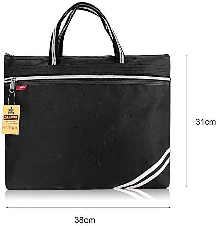 TIANSE Oxford Cloth Briefcase Business Zipper PU Leather File Bag Double Deck Black