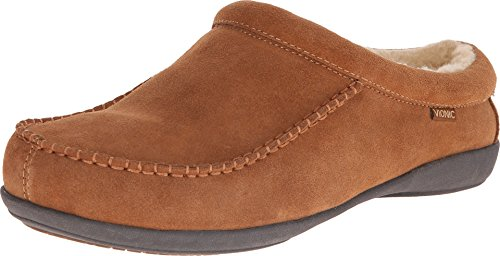 Vionic Barrow Mens Faux Shearling-Lined Slipper Chestnut - 7