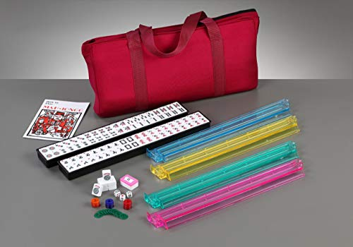 Brand New American Mahjong Set in Burgundy Bag, 4 Pushers Racks Western Mahjongg (Mahjong Set Taiwanese)