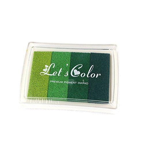 WENXIU 5 pcs Rubber Stamps Ink Pad Vivid Multi Colours Set 4 Shades Of Beautiful Water Craft Cardmaking Scrapbooking (Green)