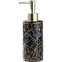 LuckyUs Ceramic Soap Dispenser, Modern Hand Countertop Soap Dispensers Pump Bottle Liquid & Lotion Soap Dispenser for Bathroom Kitchen(Black-Gold)