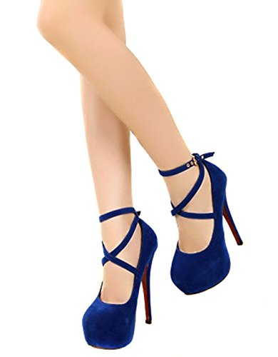 Wealsex Damen Pumps bequem stiletto high heels Blau